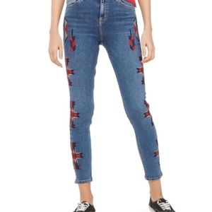 Topshop Jamie Jeans embroidery Aztec size 26